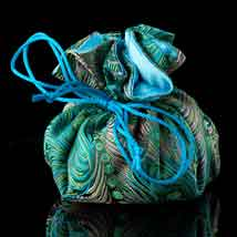 Blue Peacock Brocade Jewelry Pouch