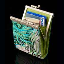 Blue Peacock Brocade Card Holder - Open