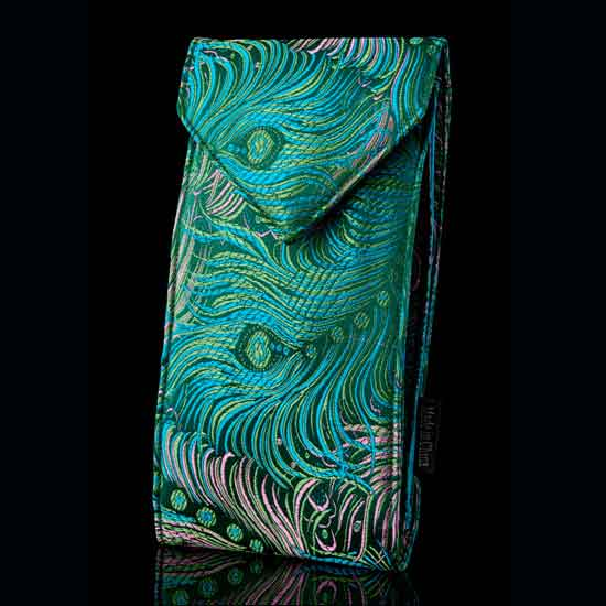 Blue Peacock Brocade Double Eyeglass Case
