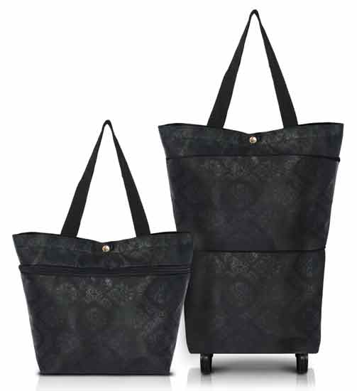 Black Florenzia Expandable Tote With Wheels