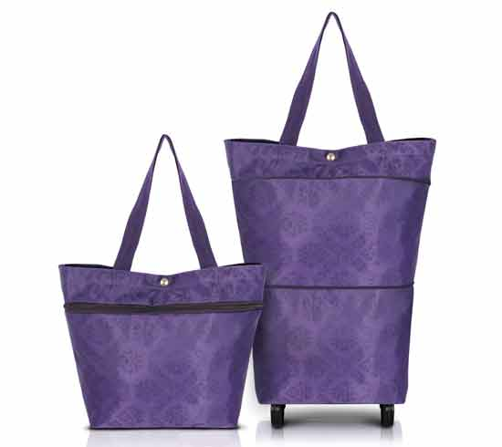 Purple Florenzia Expandable Tote With Wheels