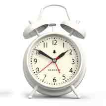 Chalk White Retro Alarm Clock