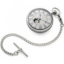 Dalvey Open Face Pocket Watch With Chain