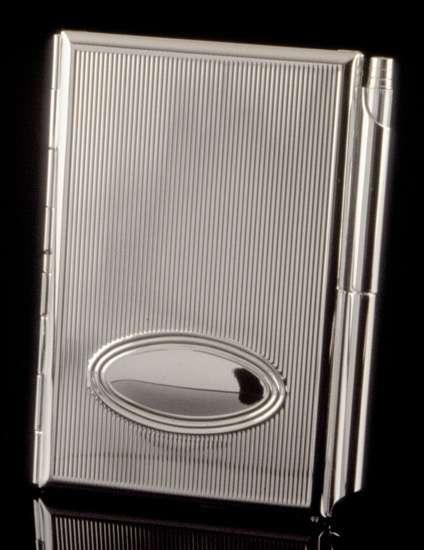 Silver card holdermemo pad with pen in business card holders pocket silver card holdermemo pad with pen colourmoves