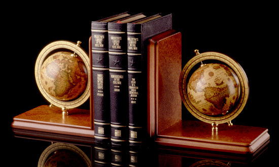 Burlwood Globe Bookends