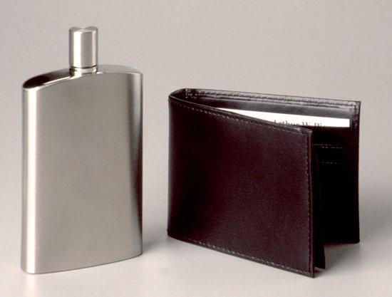 Black Leather Wallet/Flask Set