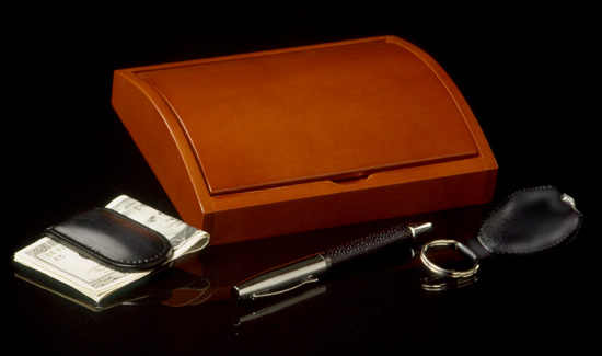 Leather Money Clip, Pen and Keychain