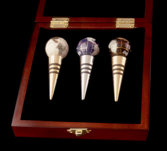 Gemstone Globe Wine Stoppers in Rosewood Box