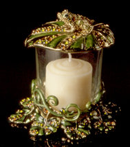 Jeweled Frog Votive Candle Holder
