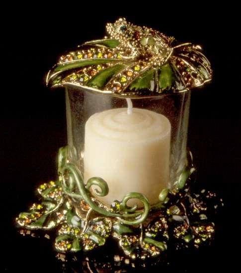 Jeweled Frog Votive Candle Holder