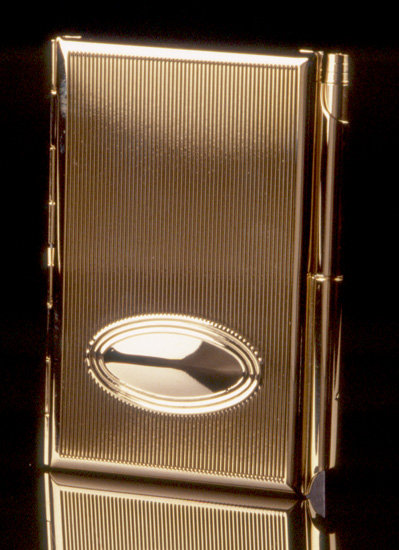 Gold Memo Card Holder with Pen