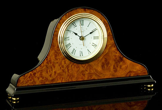 Black Burl Walnut Mantel Clock