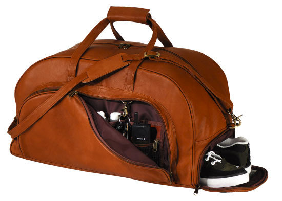 Black Leather Organizer Duffel