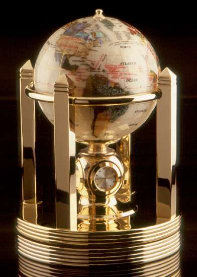 Executive Opalite Rotating Globe with Clock
