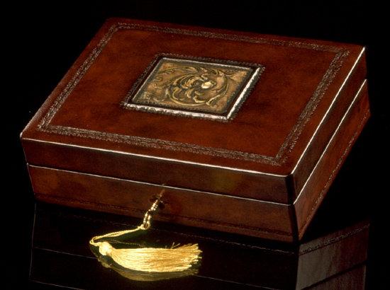 Brown Dragon Italian Leather Desk Box