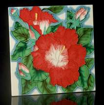 Red Poppies Tile Art