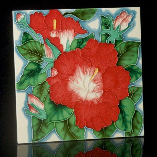 Red Poppies Tile Art