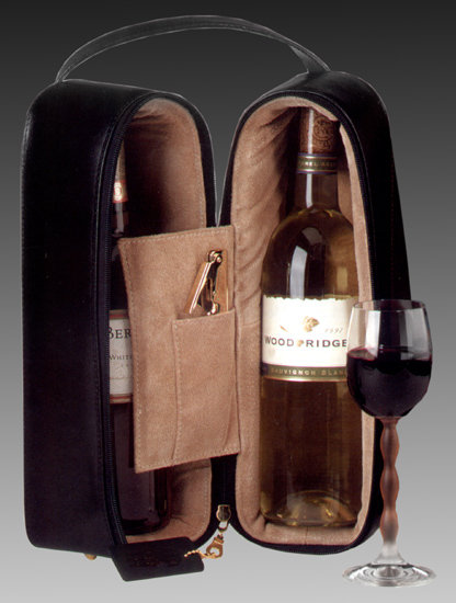 Oxford Black Leather Wine Case