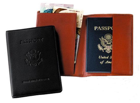 Tan Debossed Leather Passport Jacket