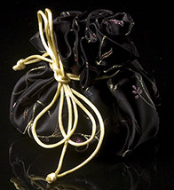 Black Satin Chinoiserie Jewelry Pouch