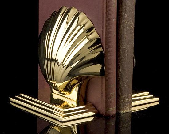 Savannah Brass Shell Bookends