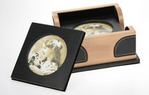 Leather and Wood Photo Coaster Set - Side View