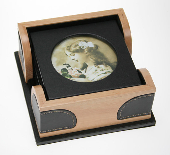 Leather & Wood Photo Coaster Set