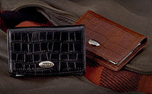 Dalvey Brown Crocodile Leather Business Card Case