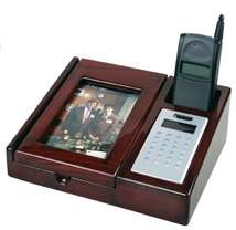 Mahogany Desk Organizer with Calculator