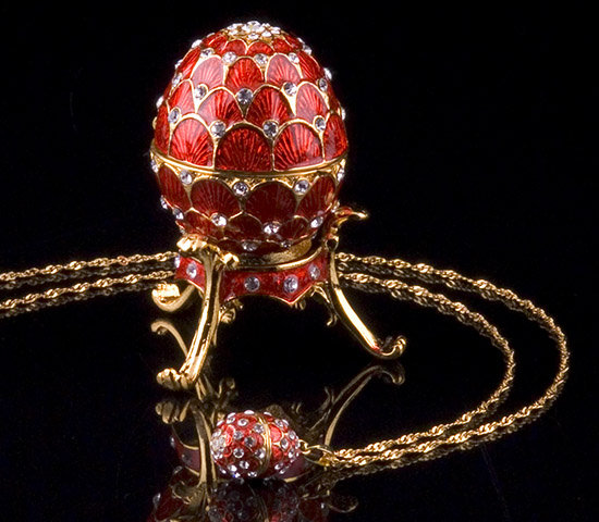 Red Jeweled Egg Box and Necklace