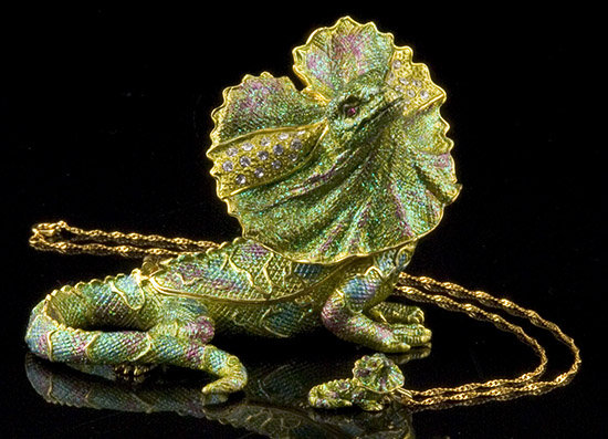 Iguana Jeweled Box and Necklace