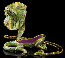 Iguana Jeweled Box and Necklace - Open