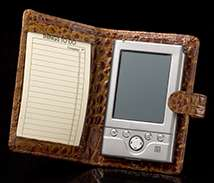 Crocodile Palm Pilot Case - Wallet Style - Open