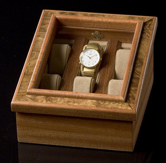 Pinecroft 30 In X 80 In Glass Over Panel Tuscany Wood: Burlwood Watch Box In Jewelry Boxes