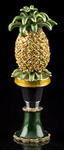 Jeweled Pineapple Bottle Topper With Stand