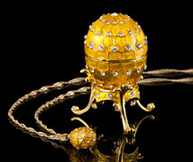 Golden Jeweled Egg Box and Necklace