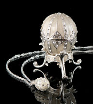 Silver Jeweled Egg Box and Necklace