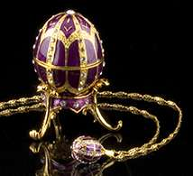 Purple Jeweled Egg Box and Necklace